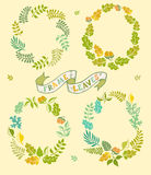 Set of round leafer vector frames. Vector illustration. Wreaths elements, hand-drawn style Stock Image