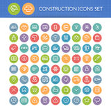 Set of Round Line Construction Icons Stock Image