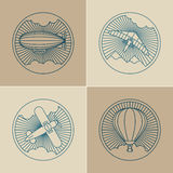 Set of round logo icons. Air transport and flying Stock Photo