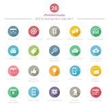 Set of Round Long Shadow SEO and Development icons Set 1 Royalty Free Stock Images