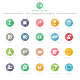 Set of Round Long Shadow SEO and Development icons Set 2 Royalty Free Stock Photos