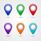 Set of round map pointers. EPS 10 Royalty Free Stock Photos