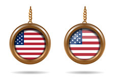 Set round medallion with an American flag Stock Image