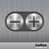 Set of round metal button with brushed texture and illustration of plus and minus for increase or decrease sound Stock Photos