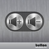 Set of round metal button with brushed texture and speaker illustration for increase or decrease sound. Isolated on a dark recess in background with metal Stock Photos