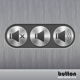 Set of round metal button with brushed texture and speaker illustrations for increase, mute or decrease sound. Isolated on a dark recess in background with Royalty Free Stock Image