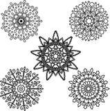 Set Round motif pattern small. Black and white Royalty Free Stock Photos