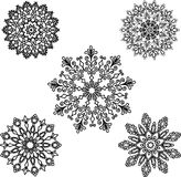 Set Round motif pattern small. Black and white Royalty Free Stock Photography