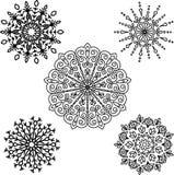 Set Round motif pattern small. Black and white Royalty Free Stock Photo