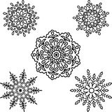 Set Round motif pattern small For coloring. Set Round motif pattern small Black and white Royalty Free Stock Image