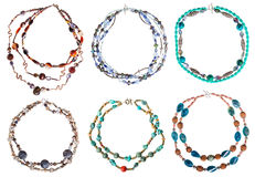 Set of round necklaces from gem stones isolated Stock Photo