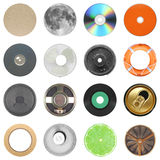 Set of 16 round objects isolated over white Stock Image
