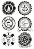 Set round odznaki dla morza i jachtu klubu Fotografia Stock