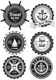 Set round odznaki dla morza i jachtu klubu Obrazy Royalty Free