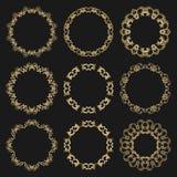 Set round openwork gold frames on black background. vector illustration