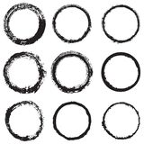 Set round a painted frame 1. Vector set of round frames and borders, painted with an ink brush. Black grunge frame with rough edges isolated on white background Royalty Free Stock Image