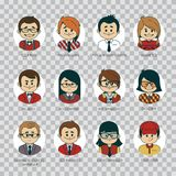 Set of round people icons your office team. Collection of professions in IT company. IT industry. Man, woman, boy, girl. On transparent background Royalty Free Stock Photography