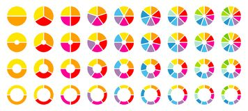 Set Of Round Pie Charts Color. Set Of Round Pie Charts With Rainbow Colors Showing Different Percent vector illustration
