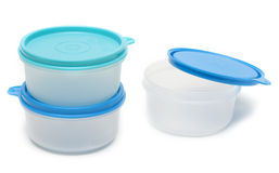 Set round plastic container Royalty Free Stock Photos