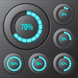 Set of round progress indicators, bars. Royalty Free Stock Image