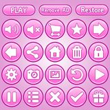 Set of round and rectangle buttons pink set. 2d asset for user interface GUI in mobile application or casual video game. Vector for web or game design Vector Illustration