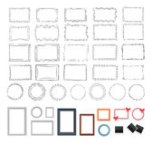 Set of Round, Rectangular, Black and Colour Frames Royalty Free Stock Images