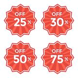 Set of round red label. Discount price sticker. Vector illustration royalty free illustration