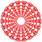 Set of Round Red Phone Frames Royalty Free Stock Photo