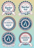 Set round rocznik barwił fryzjera męskiego sklepu odznaki Obrazy Stock