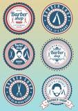 Set round rocznik barwił fryzjera męskiego sklepu odznaki Obrazy Royalty Free