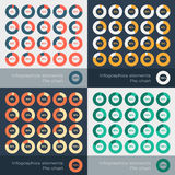 Set of the round segmented charts in flat style Royalty Free Stock Photo