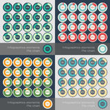 Set of the round segmented charts in flat style Stock Images