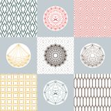 Set of round shapes and icons on backgrounds with geometrical pattern. Simple monochrome concepts. Royalty Free Stock Photo