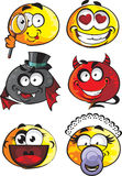 Set of round smiles emotions Stock Image