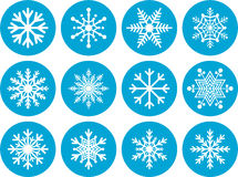 Set of Round Snowflake Icons Royalty Free Stock Photo