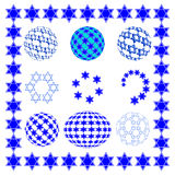 Set round sphere with stars of David. Stock Images