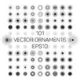 A set of 101 round spirograph geometric ornaments set. Vector illustration EPS10. Royalty Free Stock Image