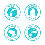 Set of round stamps with milk symbols inside and text around. vector illustration