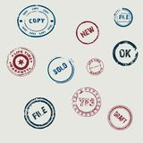 Set of round stamps. Vintage circular rubber stamps. vector illustration. Color Royalty Free Stock Photo