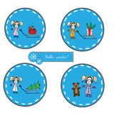 Set round sticker with girl pulling sled with Christmas tree, bi. G gift and sack, girl with bear. Vector illustration for greeting card, invitation, posters Royalty Free Stock Photos