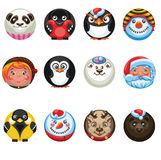 set of round stickers with an image of smiles Christmas characters royalty free illustration