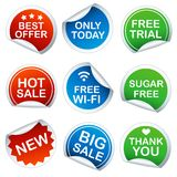 Set of round stickers Stock Photo