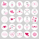 Set of round stickers for Valentine`s Day Stock Photos