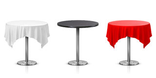 Set of Round Table with Tablecloth Isolated. On White Background Royalty Free Stock Photos