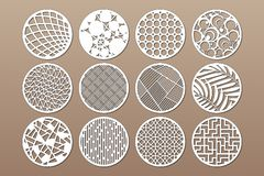 Set round template for cutting. Abstract line, geometric pattern. Laser cut. Set ratio 1:2. Vector illustration.  vector illustration