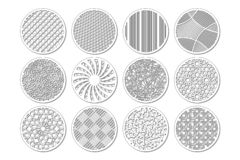 Set round template for cutting. Abstract line, geometric pattern. Laser cut. Set ratio 1:2. Vector illustration royalty free stock photography