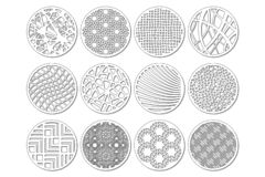 Set round template for cutting. Abstract line, geometric pattern. Laser cut. Set ratio 1:2. Vector illustration royalty free stock photos