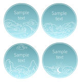 Set of round templates in oriental style. Vector hand drawn illustration. Blue skies and clouds. Place for your text Stock Images