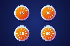 Set of round timers, preloaders. From 15 to 60 minutes or seconds. Vector illustration Royalty Free Stock Image