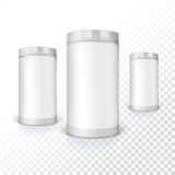 Set of round tins, packaging Stock Photos